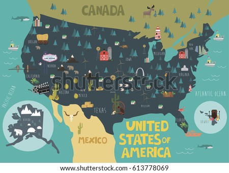Ilration Map Of Usa With Landmarks Vector Ilration