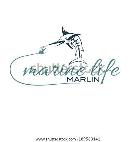illustration marine life with marlin - stock vector
