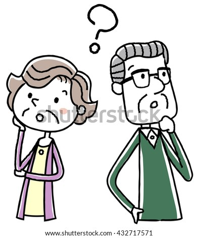 Illustration material: elderly couple questions - stock vector