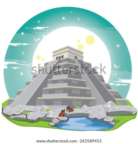 illustration . Maya Pyramid Old Mexican Stone.chichen itza - stock vector