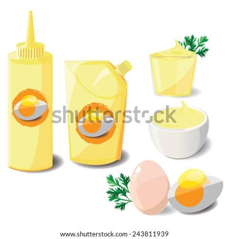 illustration mayonnaise on white - stock vector