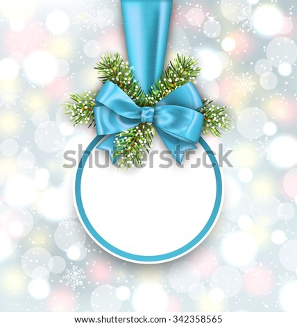 Illustration Merry Christmas Elegant Card with Bow Ribbon and Pine Twigs, on Shimmering Background - Vector - stock vector