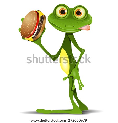 Illustration merry green frog with a delicious cheeseburger - stock vector