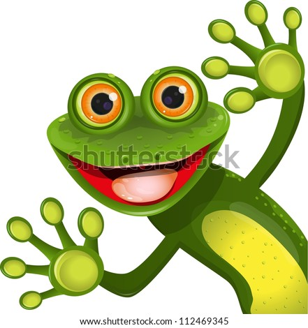 illustration, merry green frog with greater eye - stock vector