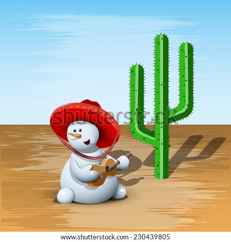 illustration merry Snowman in a sombrero and Cactus - stock vector