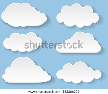 Illustration messages in the form of clouds. Vector. - stock vector