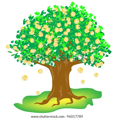 Illustration money tree on white background