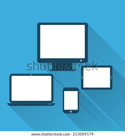 Illustration monitor, laptop, tablet computer, and mobile phone, flat icons with long shadows - vector - stock vector