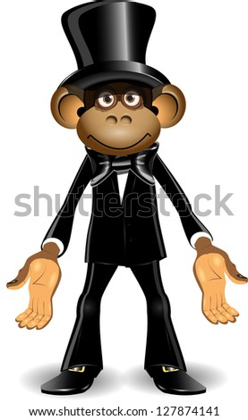 illustration monkey in a black suit and top hat - stock vector