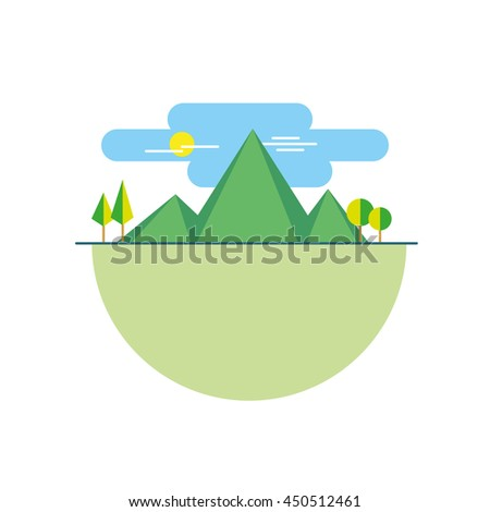 illustration mountains island in color flat - stock vector