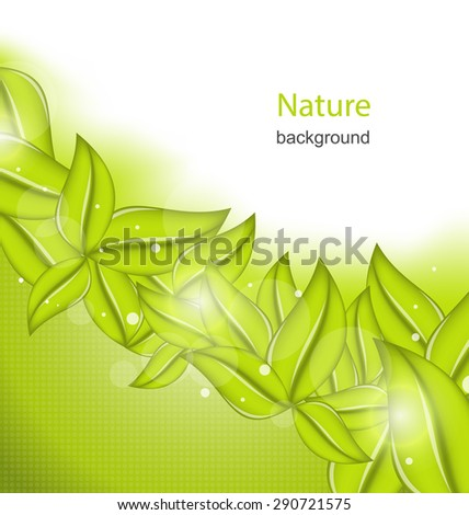 Illustration Nature Background with Eco Green Leaves - Vector