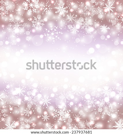 Illustration Navidad winter background with snowflakes and copy space for your text - vector - stock vector