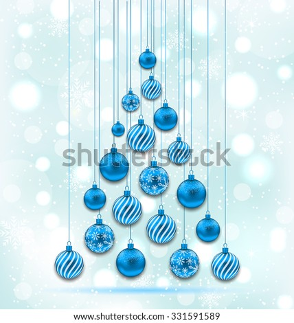 Illustration New Year Abstract Tree made in Hanging Balls, Glowing Background - Vector - stock vector