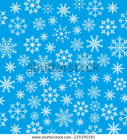 Illustration New Year blue wallpaper, snowflakes texture - vector - stock vector