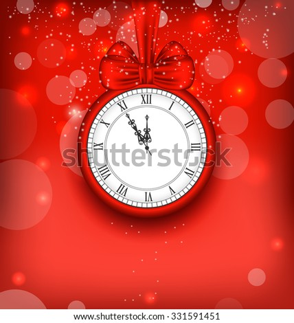 Illustration New Year Midnight Background with Clock and Bow Ribbon - Vector - stock vector