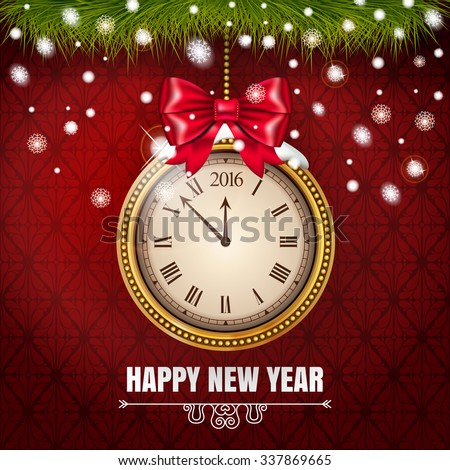 Illustration New Year Midnight 2016 Glowing Background with Clock  on the red classic background. Vector illustration. - stock vector