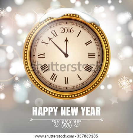 Illustration New Year Midnight 2016 Glowing Background with Clock. Vector illustration - stock vector