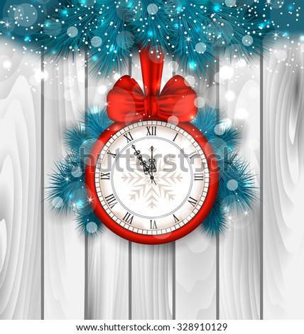 Illustration New Year Midnight Shimmering Background with Clock and Fir Branches - Vector - stock vector