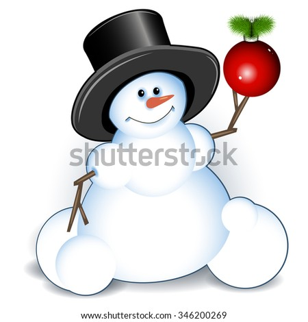 Illustration new year's snowman on white background - stock vector