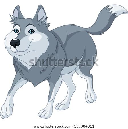 Illustration o cute cartoon wolf running - stock vector