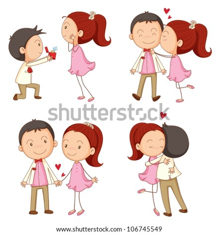 illustration of a a boy and a girl on a white background - stock vector