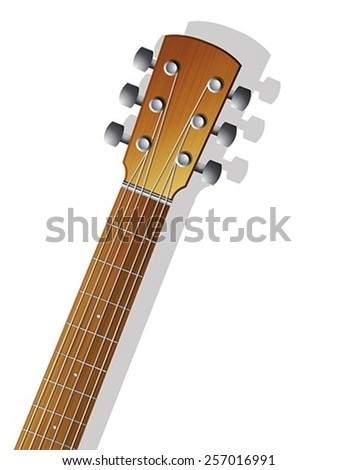 Illustration of a acoustic guitar front side neck over white background - stock vector
