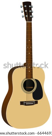 Illustration of a acoustic guitar in cream and brown. - stock vector