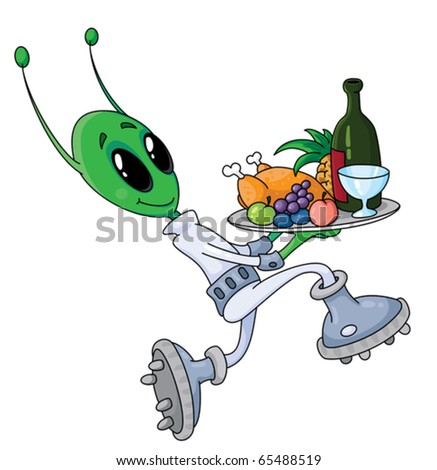 illustration of a alien with tray
