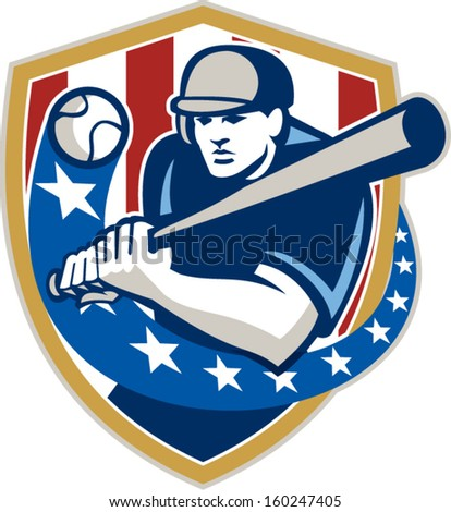Illustration of a american baseball player batter hitter holding bat batting set inside crest shield shape with stars and stripes done in retro style isolated on white background. - stock vector