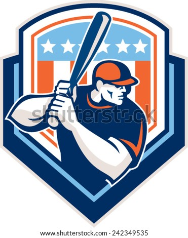 Illustration of a american baseball player batter hitter holding bat set inside shield crest with USA stars and stripes in the background done in retro style. - stock vector