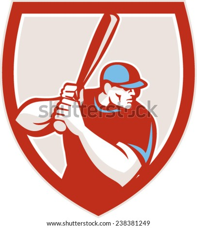 Illustration of a american baseball player batter hitter looking to the side holding bat ready to strike set inside shield crest on isolated background done in retro style. - stock vector