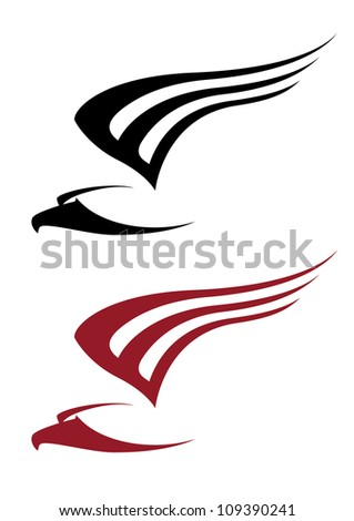 illustration of a attacking hawk for tattoo design - stock vector