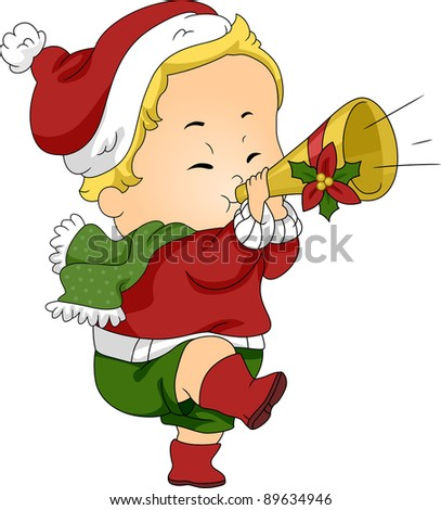 Illustration of a Baby Blowing a Christmas Trumpet