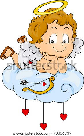 Illustration of a Baby Cupid Lying on a Cloud - stock vector