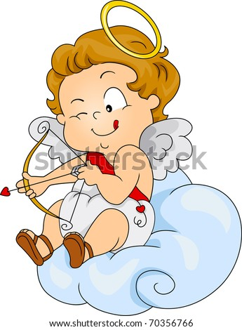 Illustration of a Baby Cupid Preparing to Shoot - stock vector