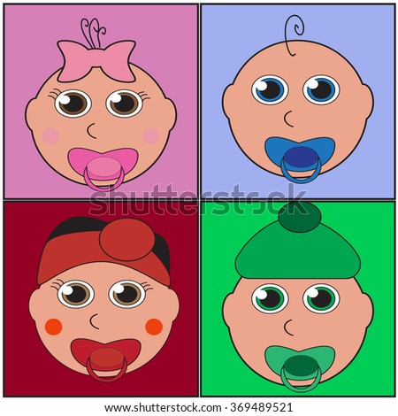 illustration of a baby faces