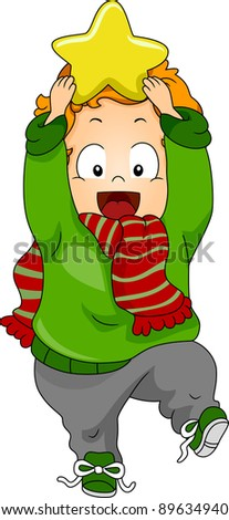 Illustration of a Baby Holding a Christmas Star - stock vector