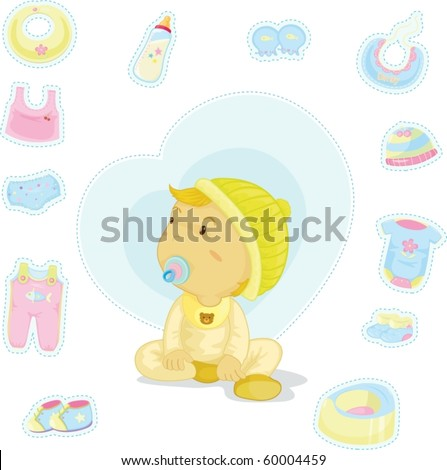 illustration of a baby on a white background - stock vector