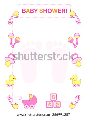 Illustration baby shower invitation card border stock photo photo illustration of a baby shower invitation card border frame for a girl stopboris Images