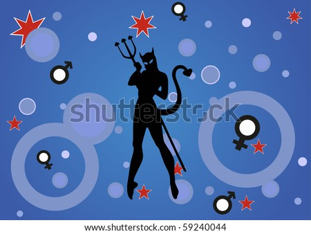 illustration of a background with a devil woman - stock vector