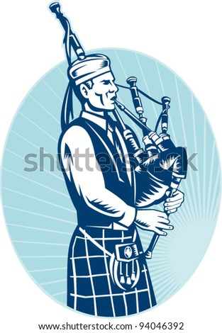 illustration of a bagpiper playing Scottish Highlands Bagpipes done in retro woodcut style facing side set inside ellipse.