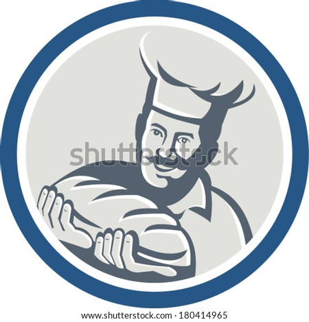 Illustration of a baker chef cook holding loaf of bread set inside circle on isolated background done in retro style. - stock vector