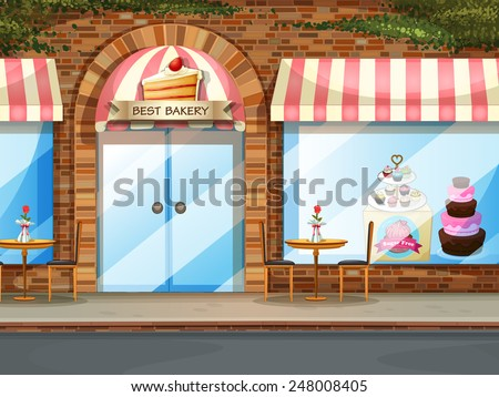 Illustration of a bakery shop with glass windows - stock vector