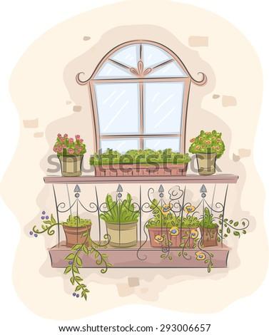 Illustration balcony garden full colorful plants stock for Balcony cartoon
