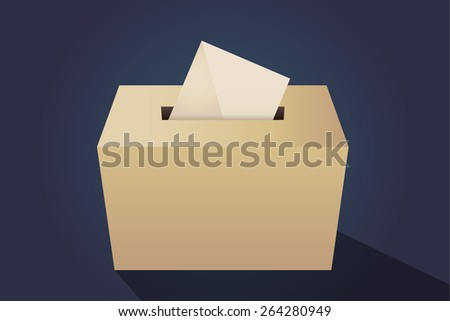 Illustration of a ballot box with an envelope, navy background - stock vector