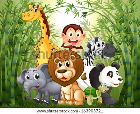 Illustration of a bamboo forest with many animals - stock vector