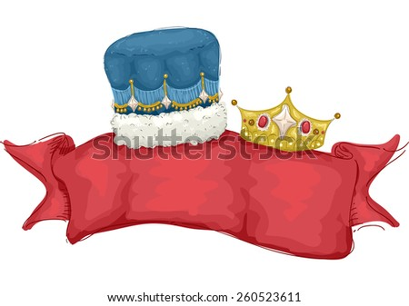 Illustration of a Banner Decorated with a Male and Female Crown  - stock vector
