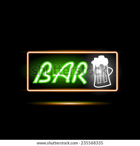Illustration of a Bar neon sign against a dark background. - stock vector