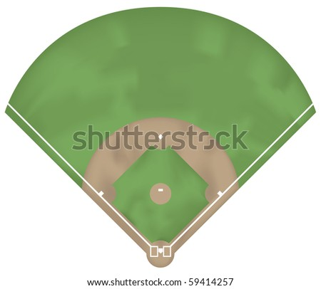 Illustration of a baseball ground. Above view