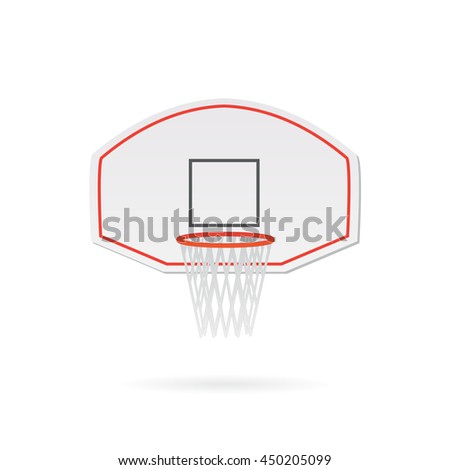 Illustration of a basketball hoop and backboard isolated on a white background. - stock vector